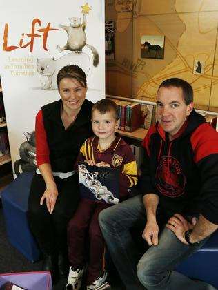 Melinda and Scott Direen with their son Jake at Brighton Primary School. Picture: MATHEW FARRELL