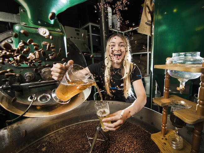 Merlo Coffee barista Mollie Butler with the new beer, Pot Shot Ale, to be a feature at Regional Flavours food festival. Picture: Nigel Hallett