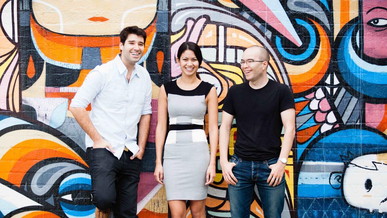Canva co-founders Cliff Obrecht, Melanie Perkins and Cameron Adams.