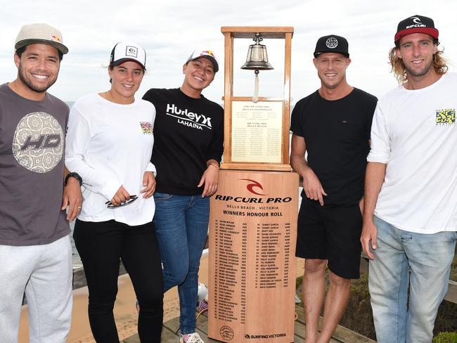 WSL surfers Adriano De Souza, Tyler Wright, Carissa Moore, Mick Fanning and Matt Wilkinson.