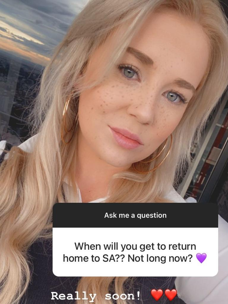 Sainsbury hinted in April she would be returning to South Australia soon.