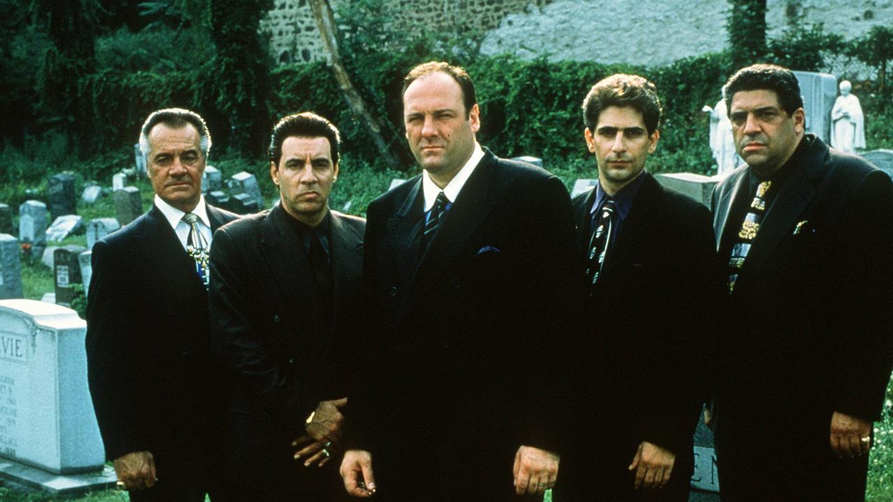 Cast of The Sopranos: Tony Sirico with Steven Zandt, James Gandolfini, Michael Imperioli and Vincent Pastore.