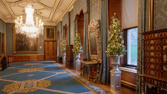 Shimmering Christmas trees in the Queen's Gallery complement the rare silver furniture on display.Picture: Royal Collection Trust / © Her Majesty Queen Elizabeth II 2020
