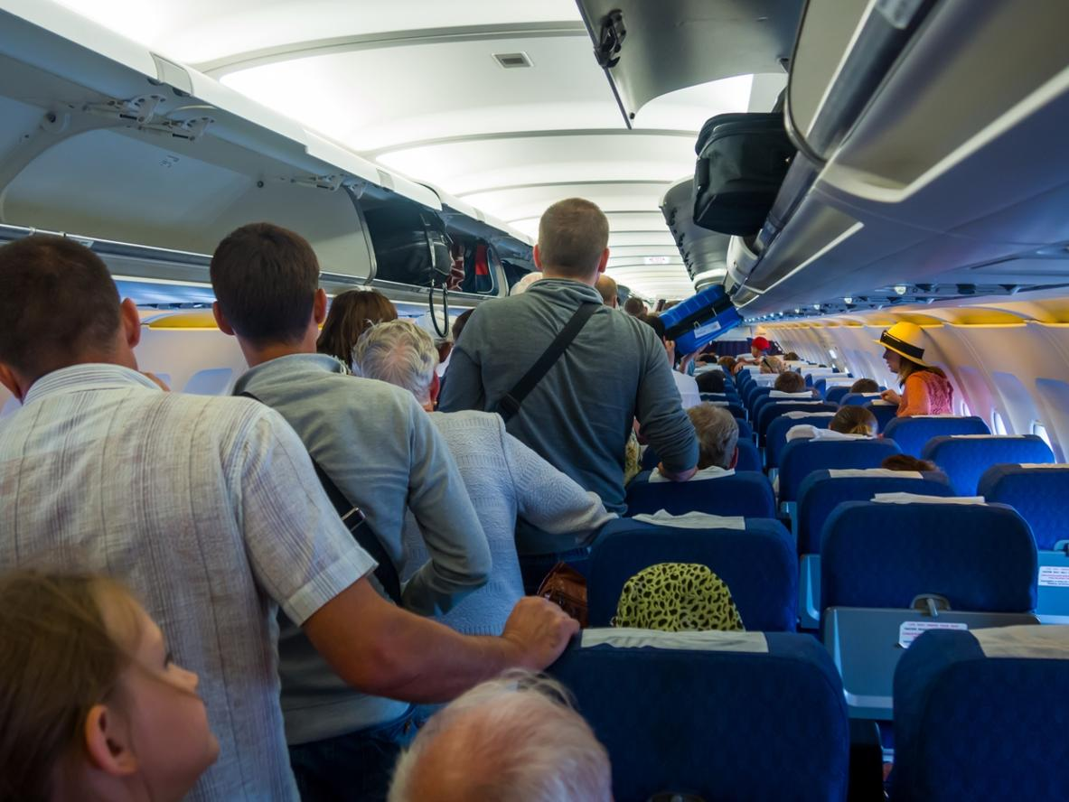 Passengers expect exit the aircraft after landing Flight Simferopol-Moscow