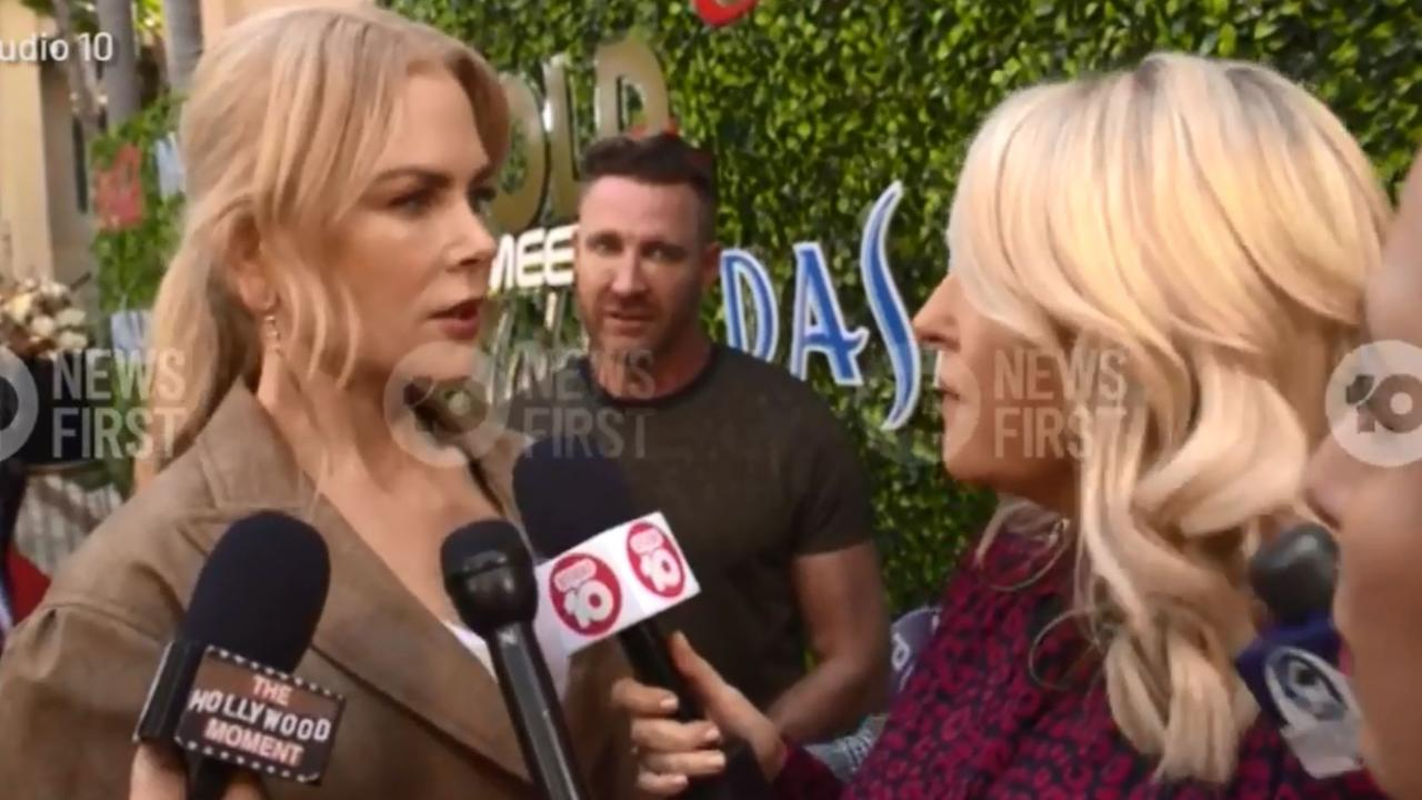 Nicole Kidman is close to tears over the Australian bushfire disaster as she attends a pre Golden Globe event. Picture: 10 Daily