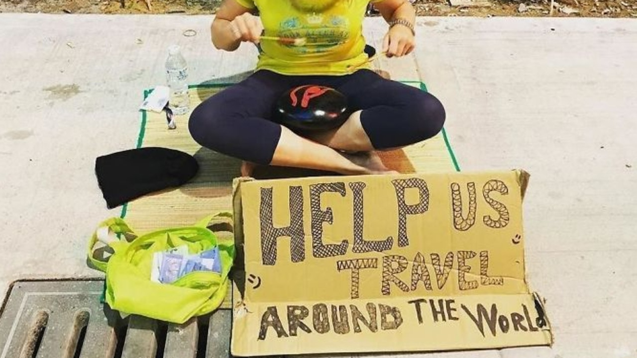 The travellers are often seen begging in the streets. Picture: Twitter/Kaisu
