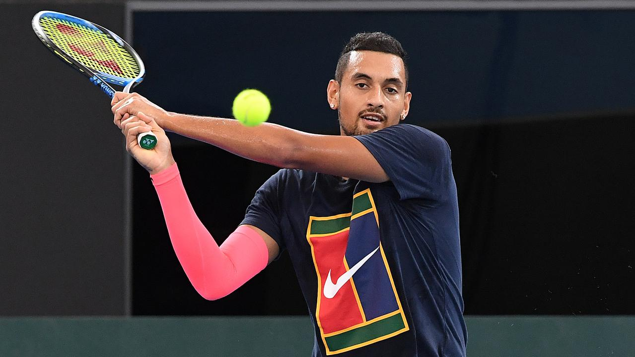 Australian tennis player Nick Kyrgios returns during a practice session following the Davis Cup draw in Brisbane, Thursday, February 2, 2018. The Davis Cup World Group First Round tie between Australia and Germany will take place on hardcourt at Pat Rafter Arena from February 2 to 4. (AAP Image/Dave Hunt) NO ARCHIVING, EDITORIAL USE ONLY