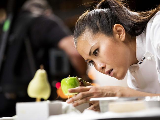 MasterChef — Diana Chan works on trio of fruits dessert. Picture: Ten