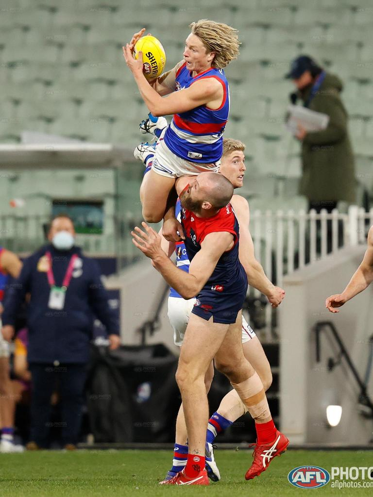 Cody Weightman took an absolute beauty over Melbourne's Max Gawn. (Photo: Michael Wilson)
