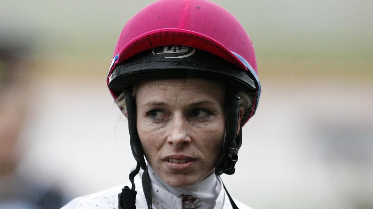 Jockey Robyn Freeman-Key after winning race 9 on racehorse Famous Seamus at Rosehill Gardens Racecourse in Sydney.