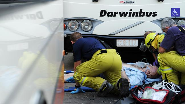 Bus driver hit by a bus at Darwin interchange.
