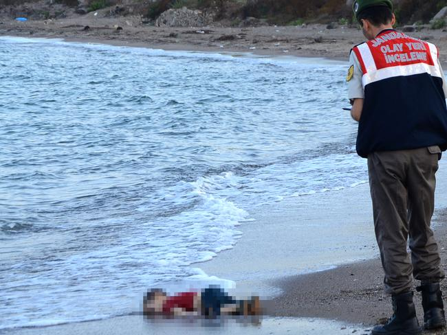 Aylan Kurdi was fleeing his homeland with his family when their boat sank near to Turkey. His father was the only family member to survive. Picture: AFP Photo/Dogan News Agency /Nilufer Demir