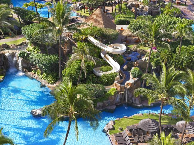 5. THE WESTIN MAUI RESORT & SPA, KA'ANAPALI, HAWAII Sure, the resort is great, but it's the water park that has our attention. The centrepiece of Maui's Westin Resort and Spa is the sprawling 7900sq m aquatic playground. And what better way to soak up the perfect Hawaiian weather than spending the day in the outdoors? Expect five swimming pools, loads of secret grottoes, whirlpools and even ponds where you can find the odd flamingo hanging out. To top it off, the resort is home to an impressive 39m open-air water slide, where you can view incredible ocean views.