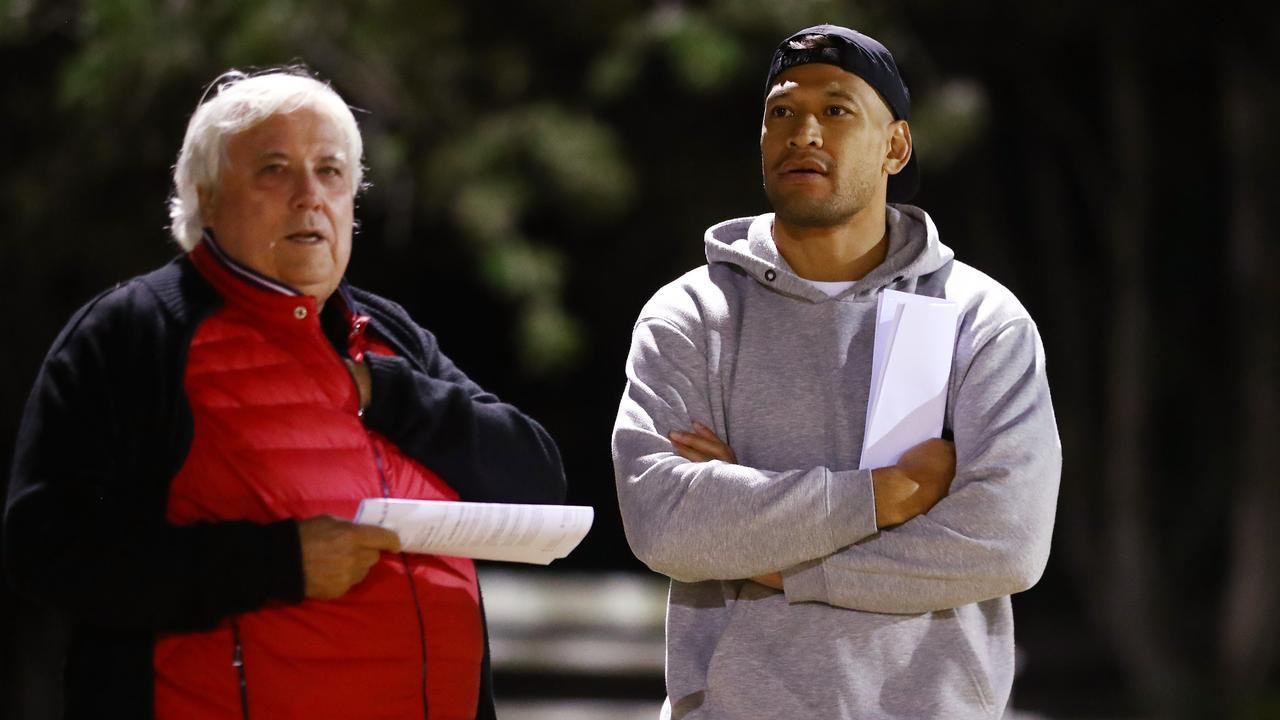 Clive Palmer and Israel Folau together on the Gold Coast. Picture: Chris Hyde/Getty Images