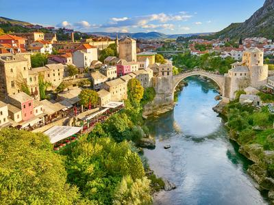 Stari Most or Old Bridge, Neretva River, Mostar, Bosnia and Herzegovina