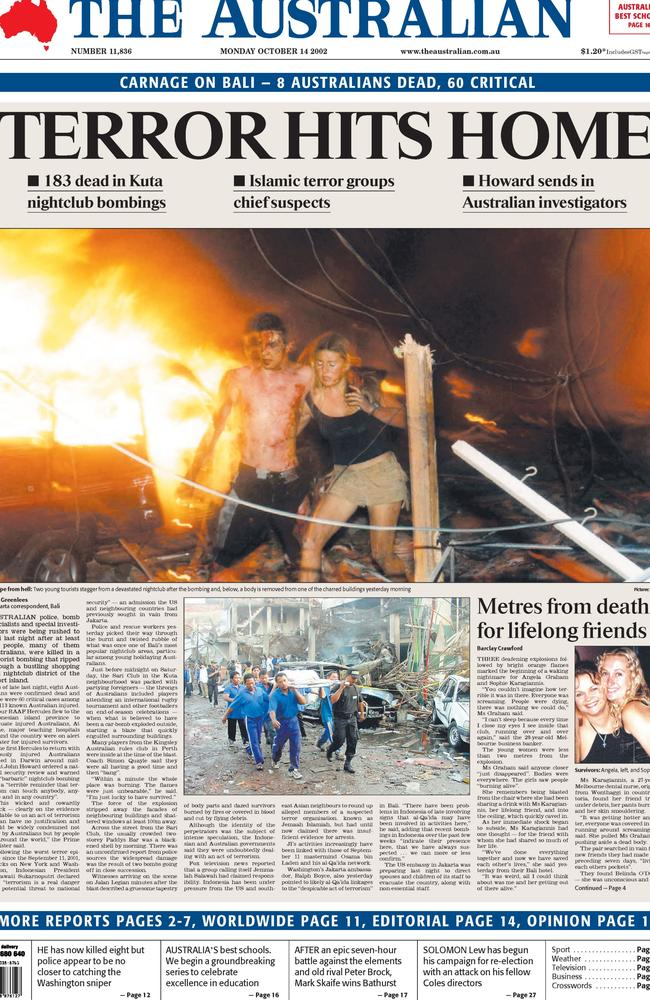 The front page of The Australian October 14, 2002.
