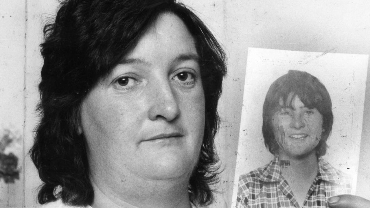 Janice Langley with a picture of her missing son Mark, in March 1982.