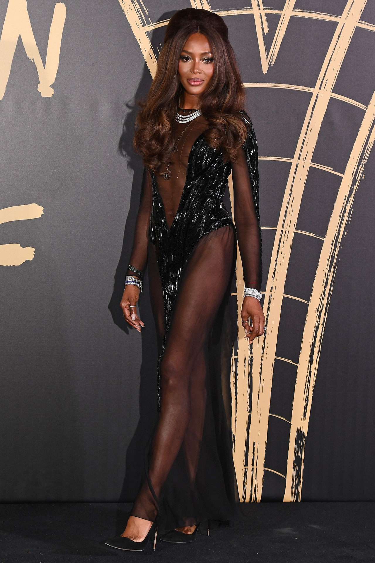 The semi-sheer Thierry Mugler gown Campbell slipped into for the event's red carpet. Image credit: Getty Images