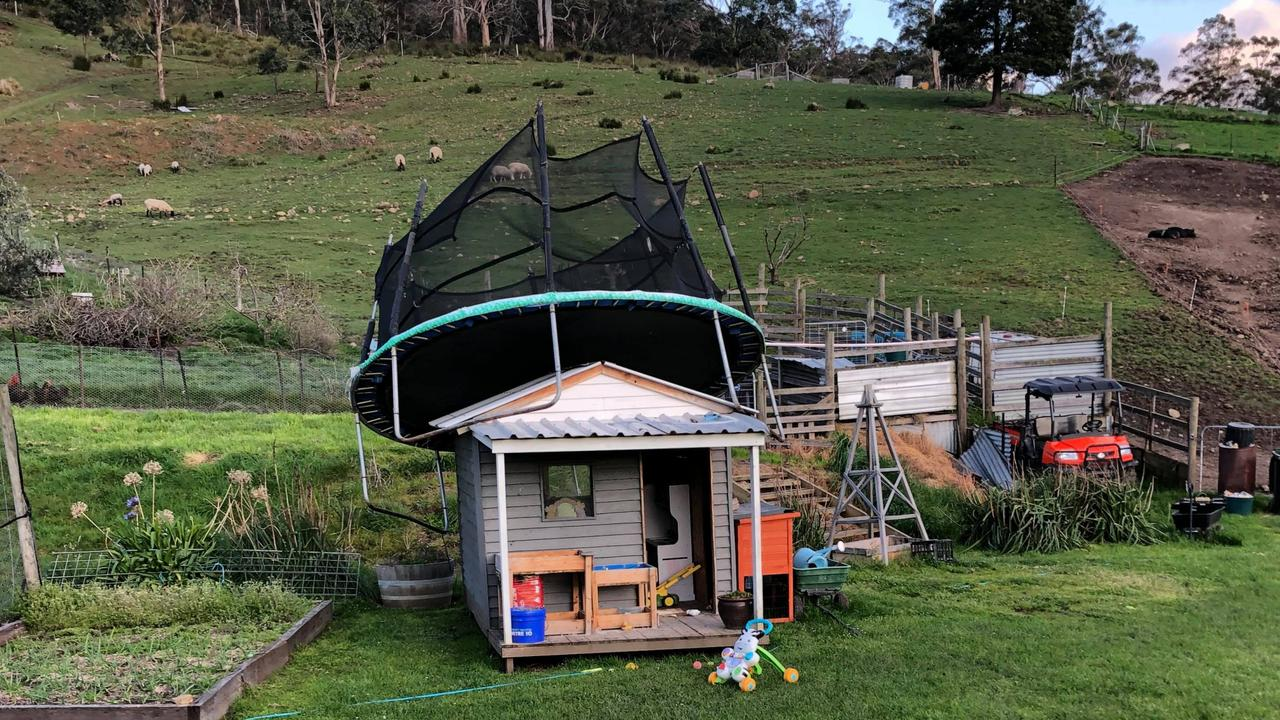 The wind picked up this trampoline in the Huon Valley pretty easily – September 23, 2021. Photo: Kiri Trengrove
