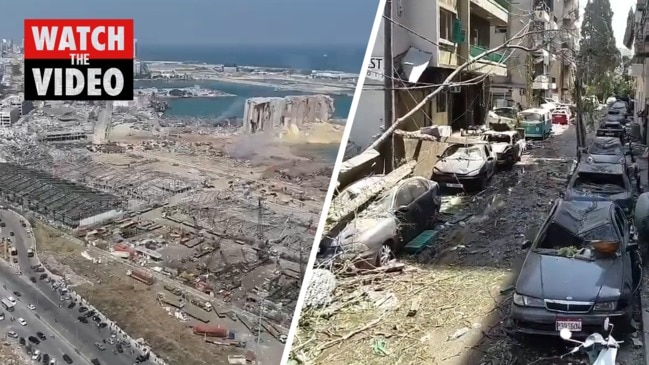 Drone footage captures devastation in Beirut following massive explosion