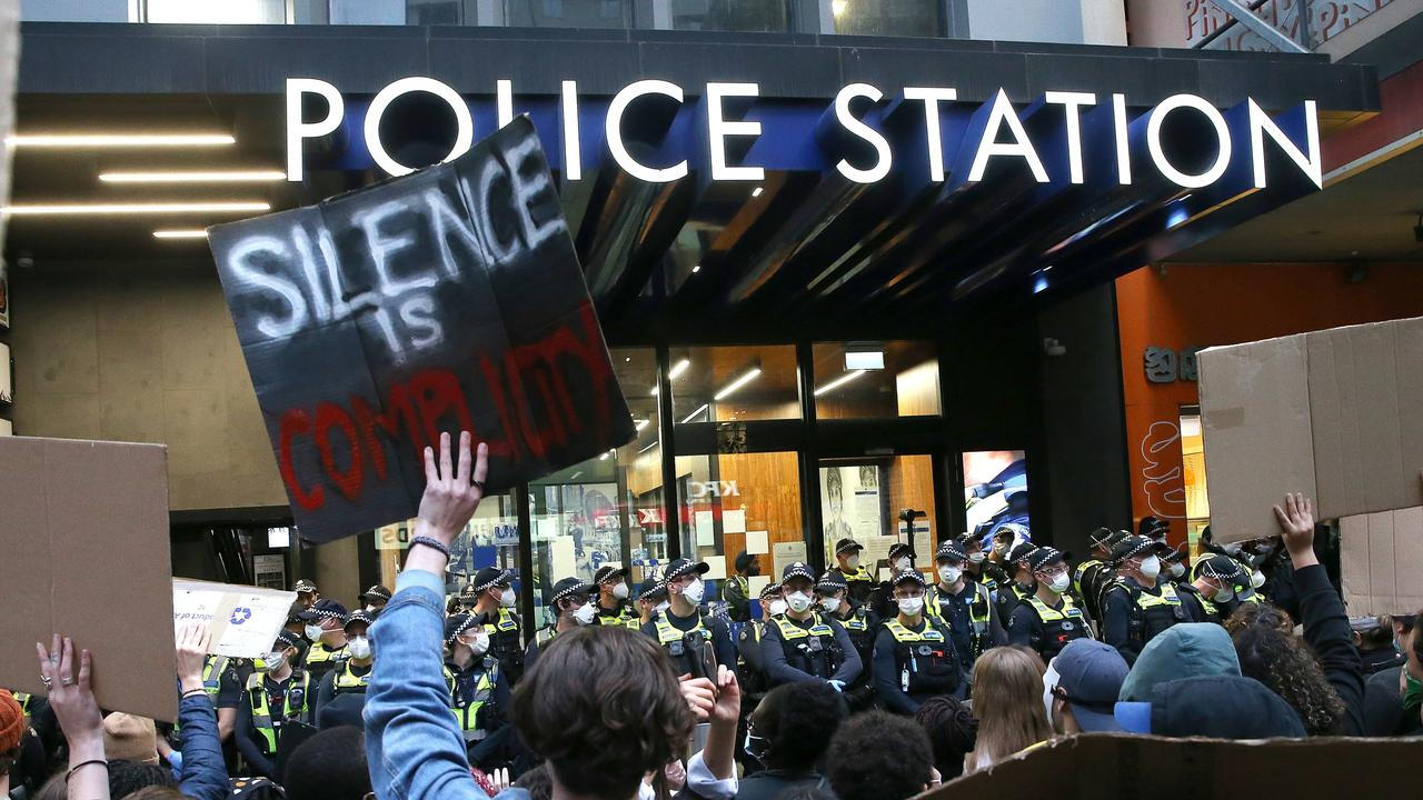 """People could be heard shouting anti-police slogans such as """"police the police"""", sparked by the deaths of countless people in police custody. Picture: Wayne Ludbey"""