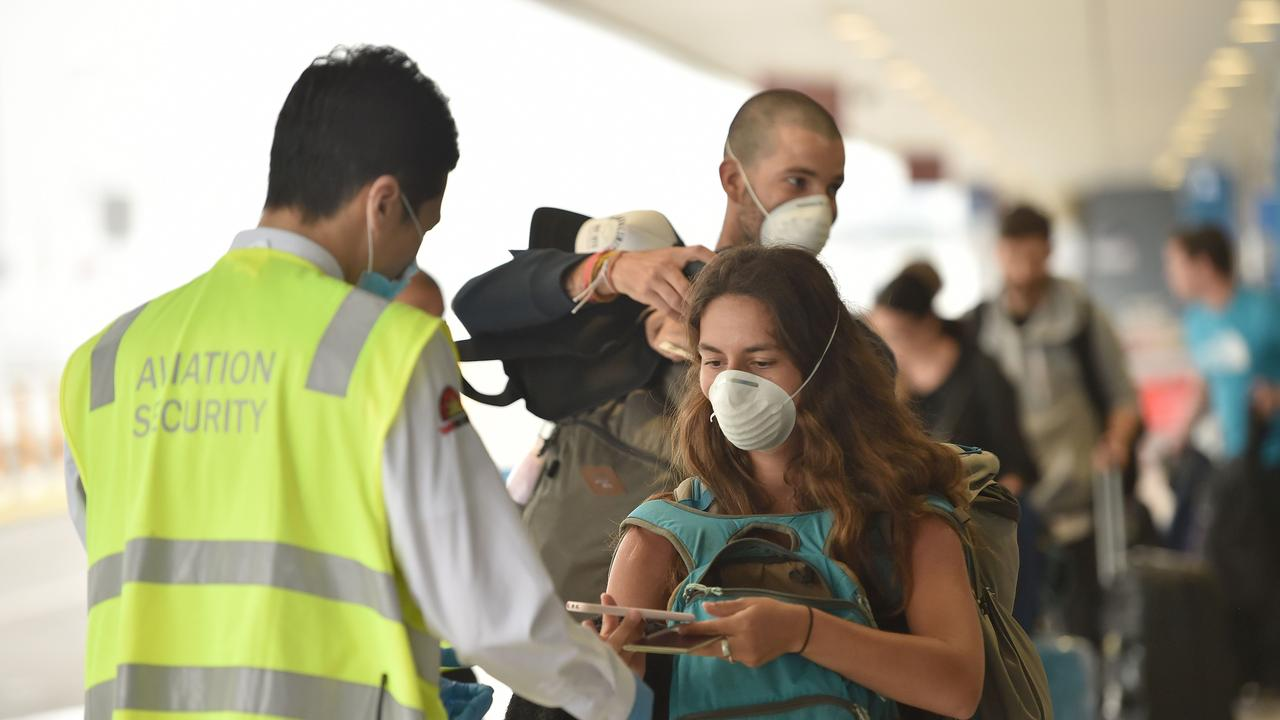 French Nationals leave Sydney International Airport to be repatriated home on Thursday, April 2. Picture: Peter Parks/AFP