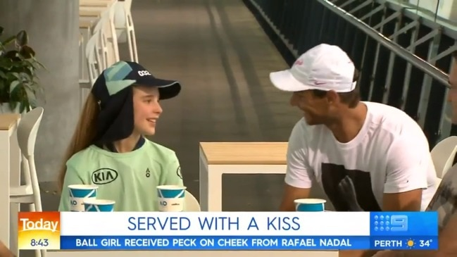 Ball girl hit by stray shot spends time with Rafa (Today)