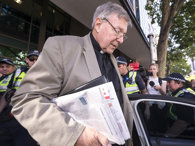 Australia's most senior Catholic Cardinal George Pell departs the Melbourne Magistrates Court this week. Picture: AAP Image/Daniel Pockett