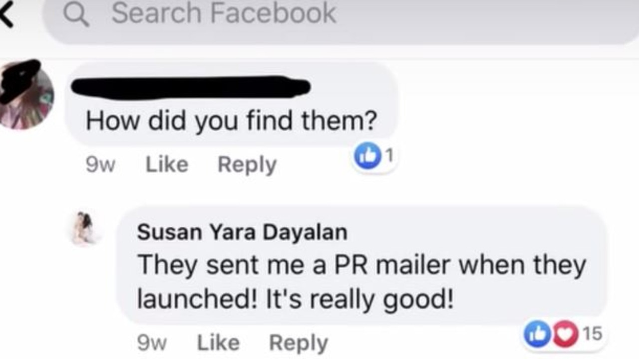 In a Facebook comment Ms Yara claimed she had been sent the products by a PR person