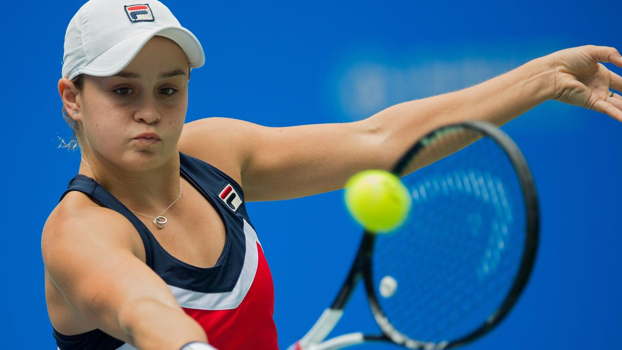 Ashleigh Barty had to dig deep before reaching the final four in Wuhan. Picture: AFP.
