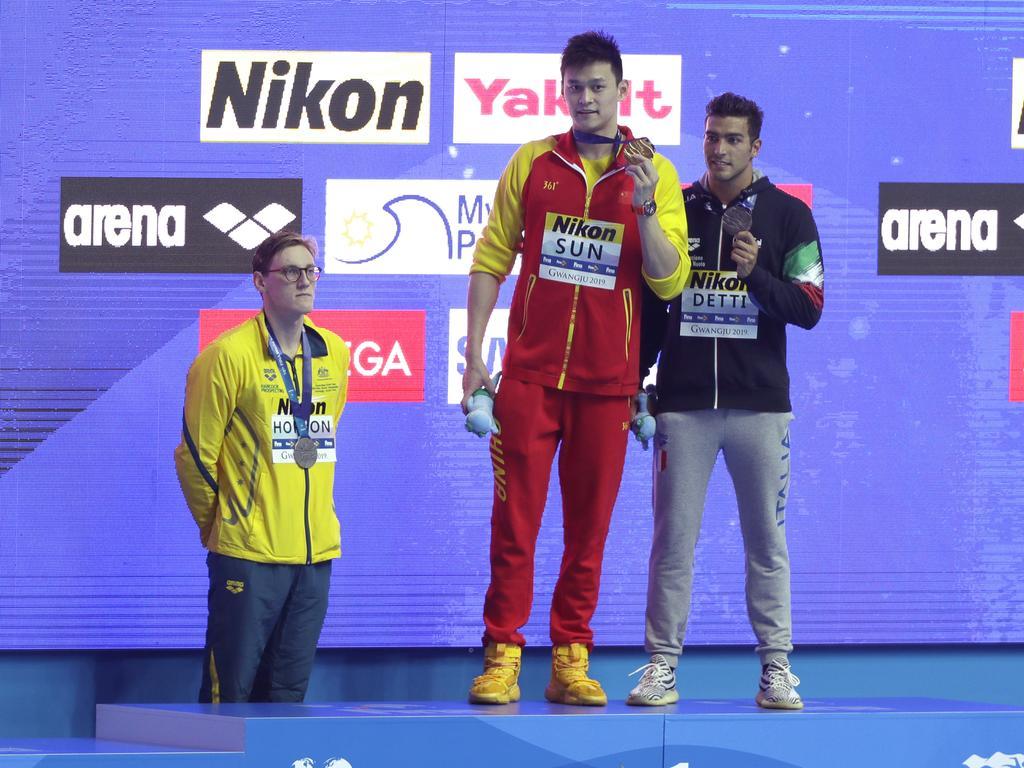 Mack Horton, Sun Yang and Gabriele Detti. (AP Photo/Mark Schiefelbein)