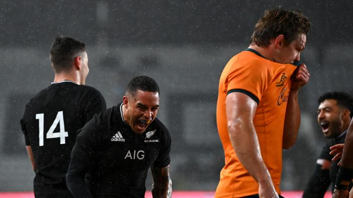 AUCKLAND, NEW ZEALAND - AUGUST 14: Aaron Smith of the All Blacks celebrates after Codie Taylor of the All Blacks scored a try during The Rugby Championship and Bledisloe Cup match between the New Zealand All Blacks and the Australian Wallabies at Eden Park on August 14, 2021 in Auckland, New Zealand. (Photo by Hannah Peters/Getty Images)
