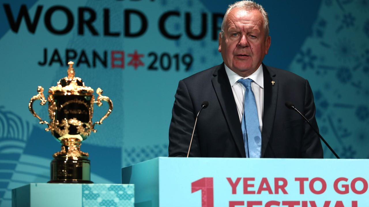 World Rugby Chairman Bill Beaumont speaks during an event to mark one year to go to the 2019 Rugby World Cup in Tokyo.