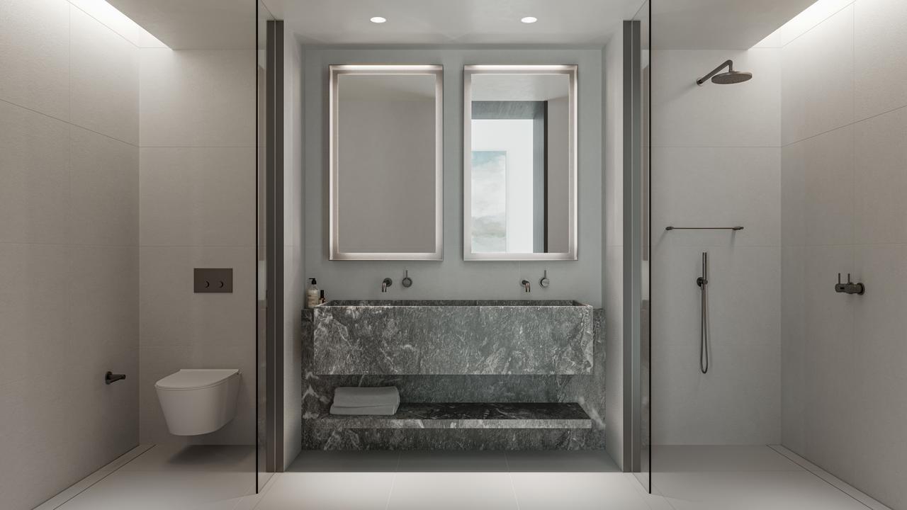 … and stylish bathrooms.