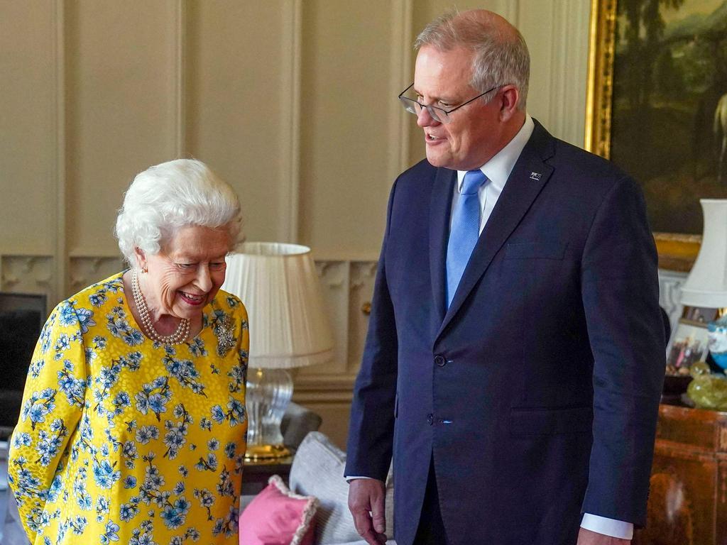 Britain's Queen Elizabeth II receives Australia's Prime Minister Scott Morrison during an audience in the Oak Room at Windsor Castle, Berkshire on June 15, 2021. Picture: Steve Parsons /Pool/AFP