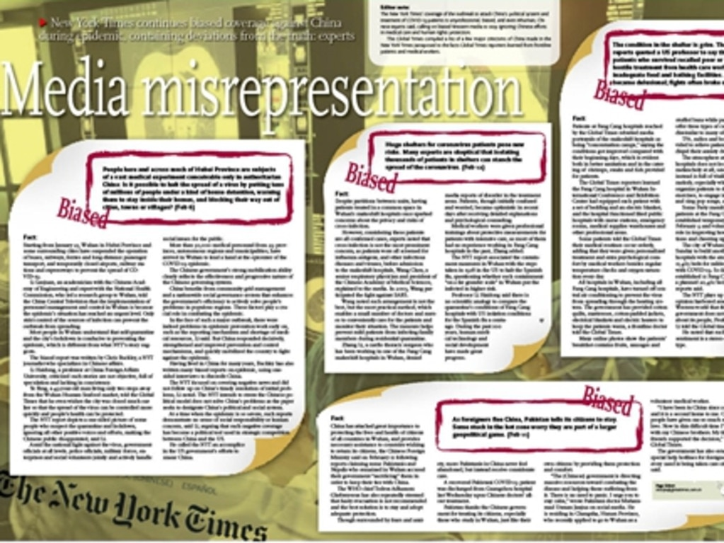 State-run news outlet Global Times put together a collage of offensive New York Times stories to illustrate its scathing editorial. Picture: Global Times