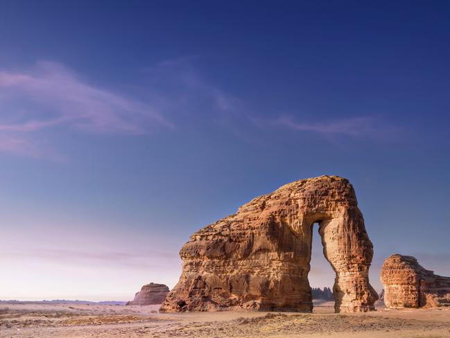 One of the most famous and popular rock formations within the plains of Al-Ula is Elephant Rocks. The enormous elephant-shaped formation creates weird and wonderful shadows, making it a favourite spot for photographers, especially when the sunset reflects colours. Picture: SCTH