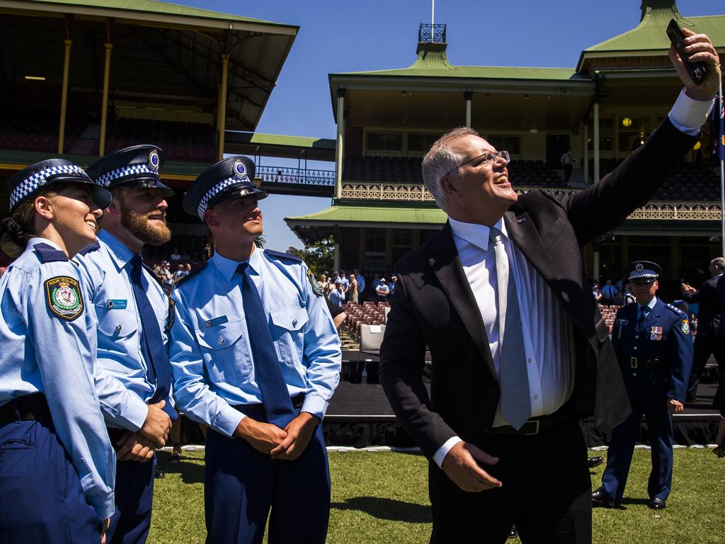 Scott Morrison gets a selfie with NSW Police Force's new probationary constables at the Sydney Cricket Ground. Picture: Dylan Robinson