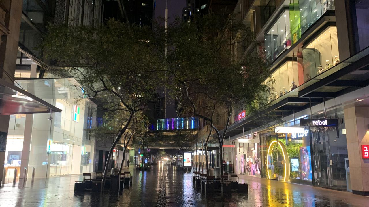 An empty Pitt St Mall in Sydney's CBD at 5pm when shops should be busy. Picture: Benedict Brook.