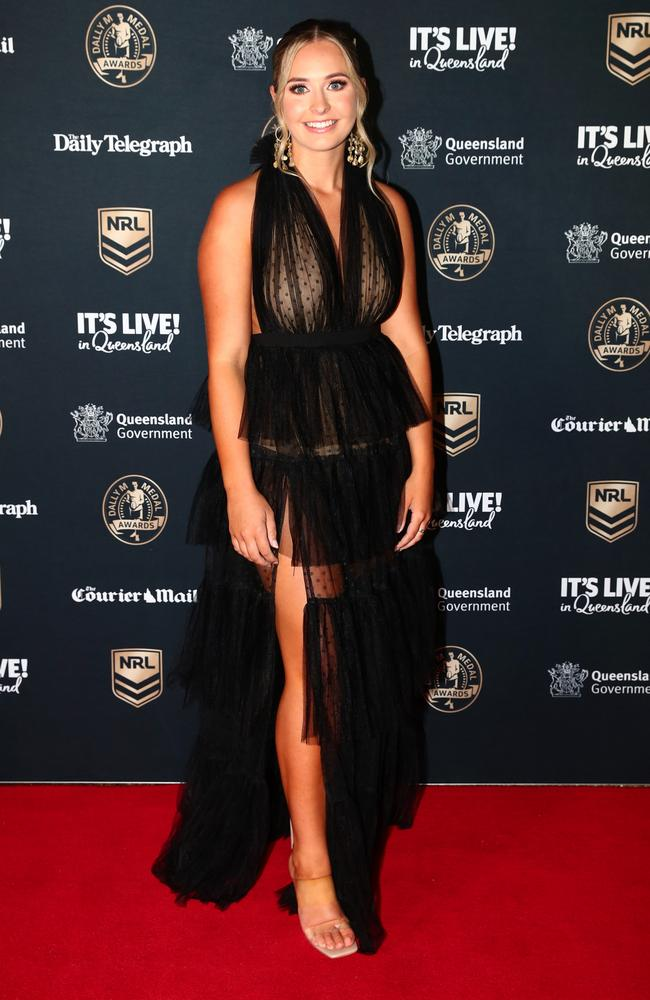 Zoe Warwick, partner of Panthers' Matt Burton, wore a ruffled dress with sheer panels. Picture: Chris Hyde/Getty Images