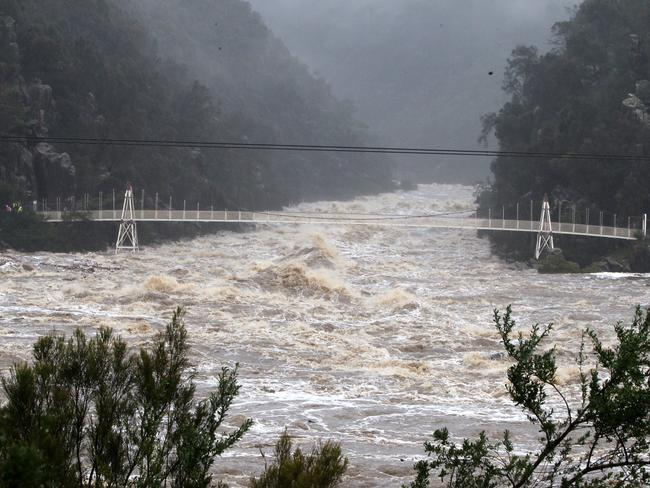 Water rushes into Launceston's Cataract Gorge. Picture: BRUCE MOUNSTER