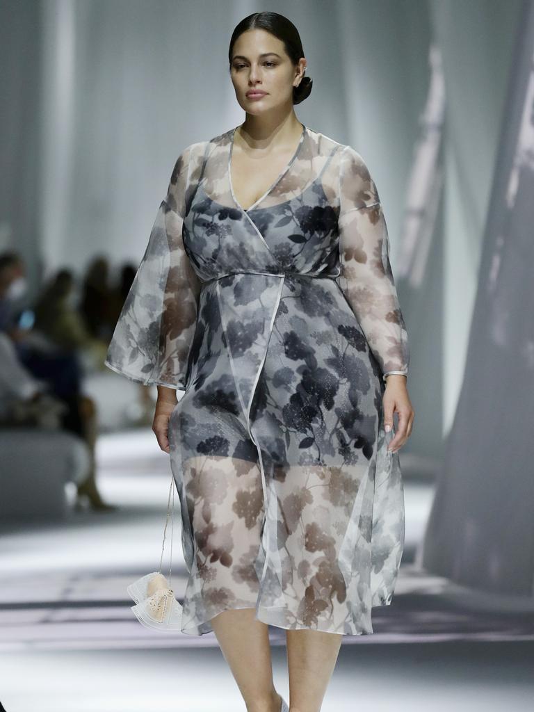Ashley Graham walks the runway at the Fendi fashion show in Milan. Picture: Vittorio Zunino Celotto/Getty