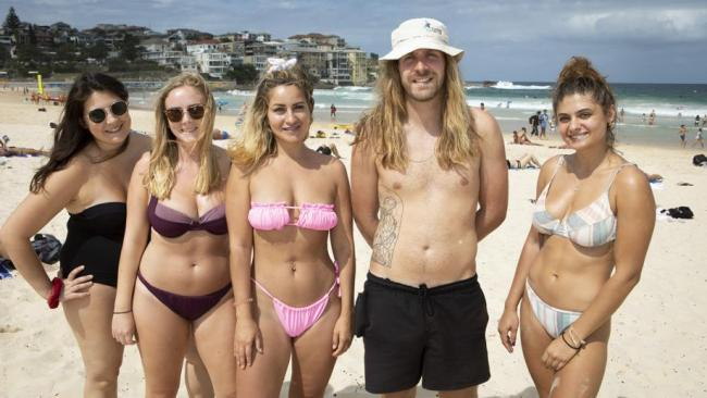 Bondi Beach was closed on Saturday to the disappointment of beachgoers (L-R) Emma Pimto, Sammy Baxter, Holly Guswell, Max Plumell and Victoria Kiomall. Picture: Brendan Read