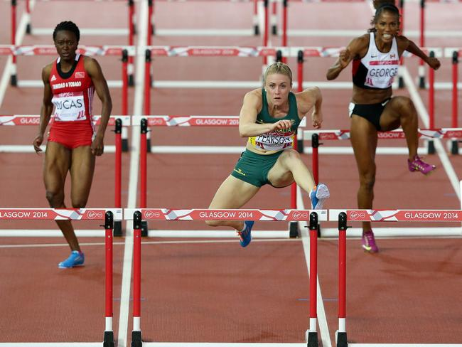 Sally Pearson wins her Women's 100m Hurdles heat in dominant style. Picture: Adam Head