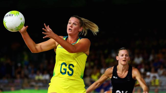Shooter Caitlin Thwaites scored 24 goals against the Kiwis. (Dean Mouhtaropoulos/Getty Images)
