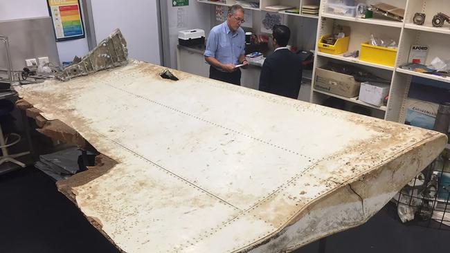 A piece of the wing flap from missing MH370 found in Tanzania. Picture: AFP/ATSB