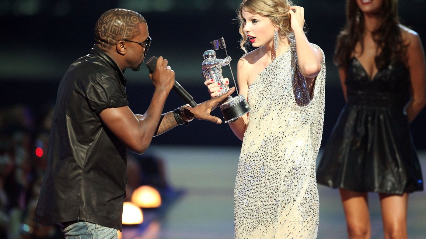 "The now-infamous scene of West interrupting Swift's ""Best Female Video"" award acceptant speech at the 2009 MTV Video Music Awards. Image credit: Getty Images"