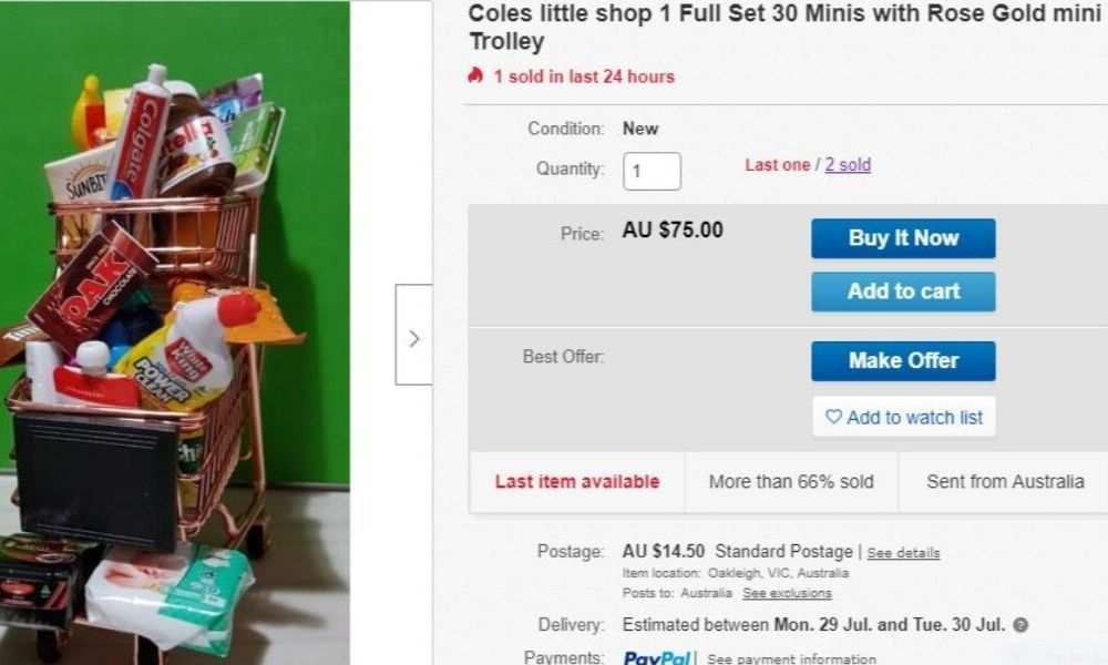 Coles Little Shop 2 rare gold trolley collectable selling on