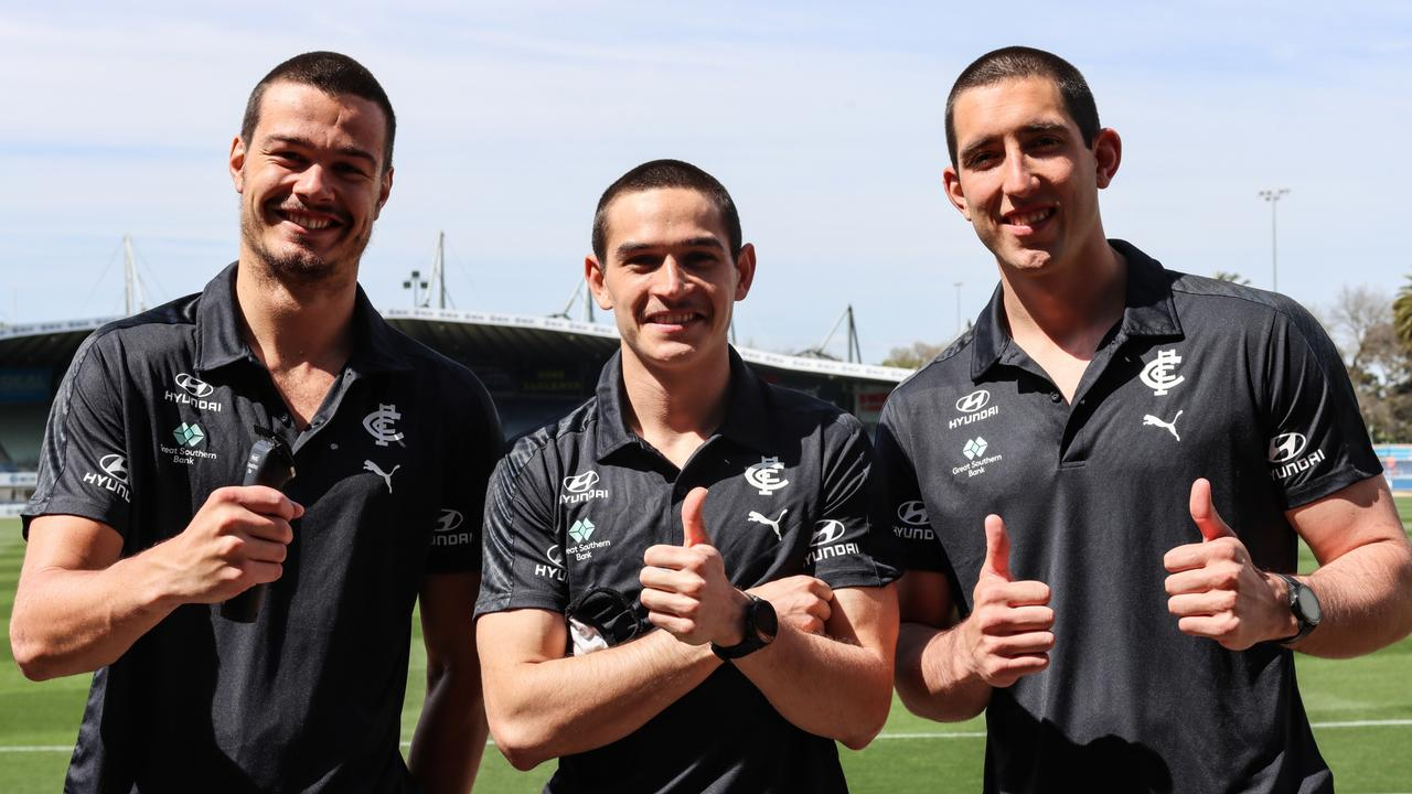 Carlton trio Jack Silvagni, Zac Fisher and Jacob Weitering had their heads shaved at Ikon Park.