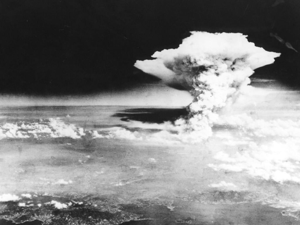 A mushroom cloud of the atomic bomb dropped by the B-29 bomber Enola Gay over the city of Hiroshima in August 1945. Picture: AFP.